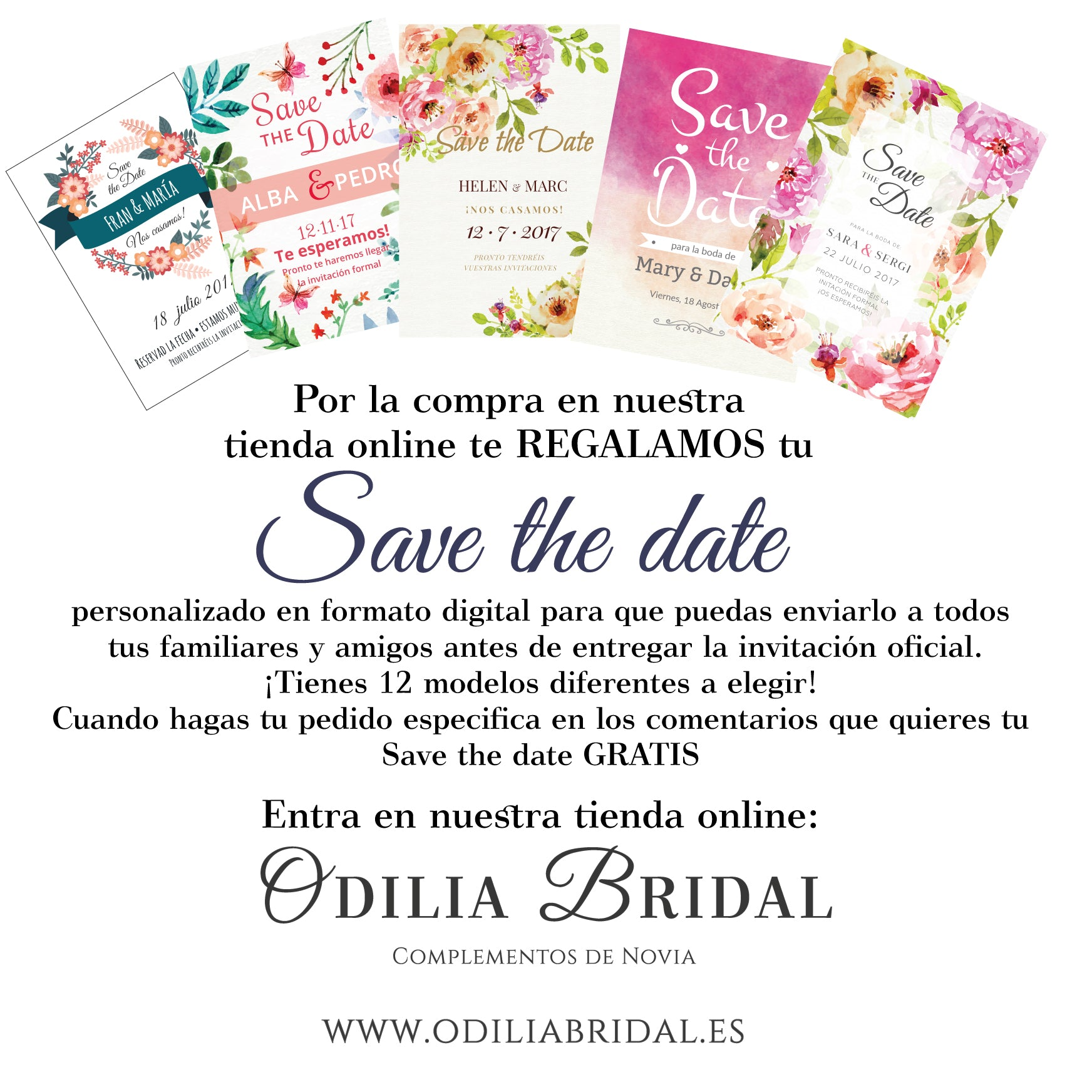 Save the date gratis y de regalo por la compra de nuestros productos