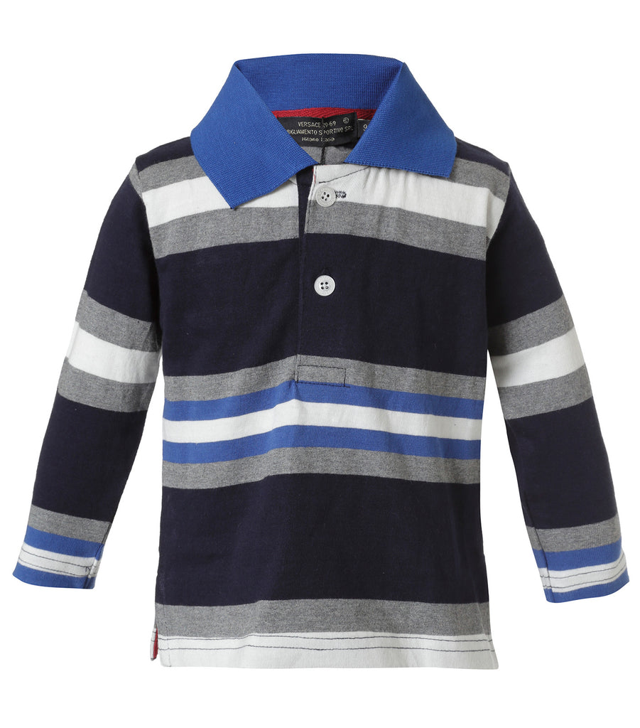 Polo Rayada Azul y Gris Infant