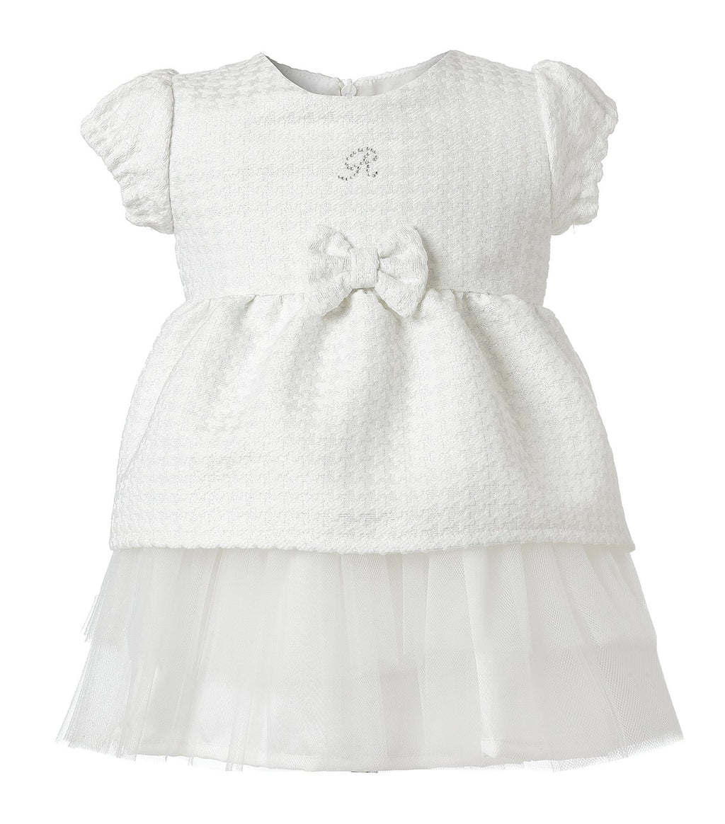 Vestido Tweed Blanco Tul Infant