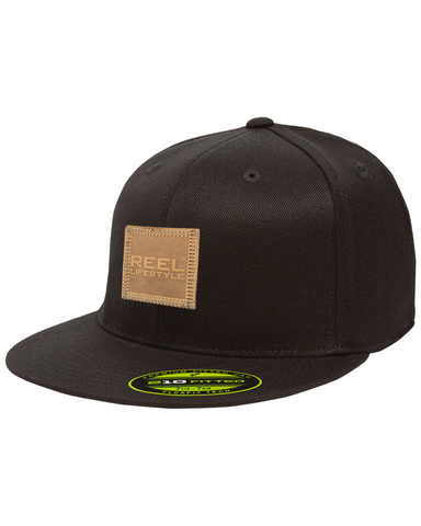 Premium 210 Fitted Hat - Leather Patch - Black