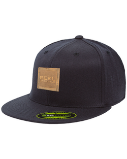 Premium 210 Fitted Hat - Leather Patch - Navy