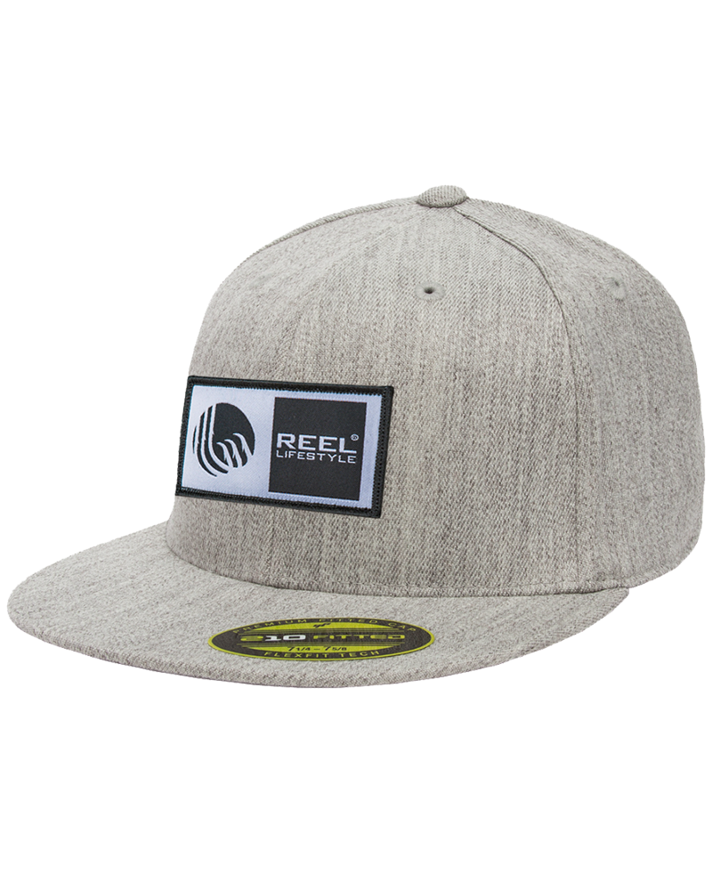 0ecbc0fc2bc66 hardwodder branded flexfit 210 fitted hat in red  premium 210 fitted hat  original logo patch heather grey