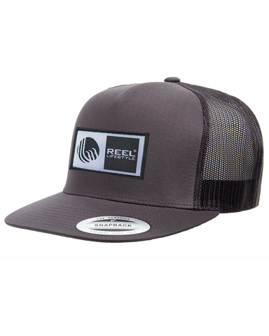 Classic Trucker Snapback Flat Bill - Original Logo Patch - Charcoal