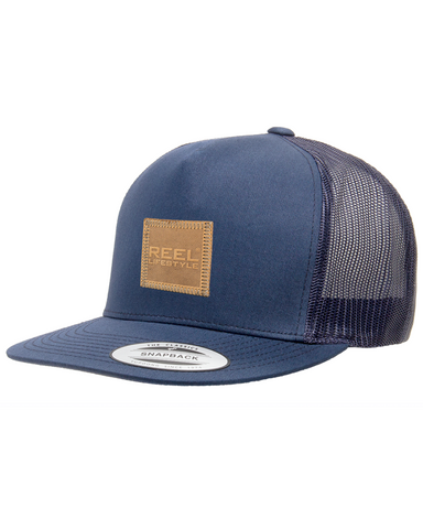 Classic Trucker Snapback Flat Bill - Leather Patch