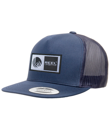 Classic Trucker Snapback Flat Bill - Original Logo Patch - Navy