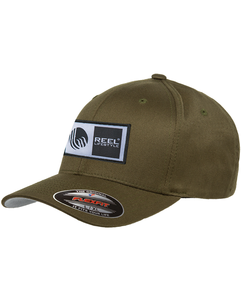 Flexfit Original Wooly Combed Twill - Original Logo Patch Hat - Olive