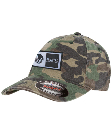 Flexfit Original Wooly Combed Twill Washed Camo - Original Logo Patch - Green