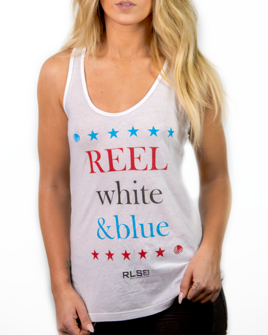 REEL White & Blue Tank