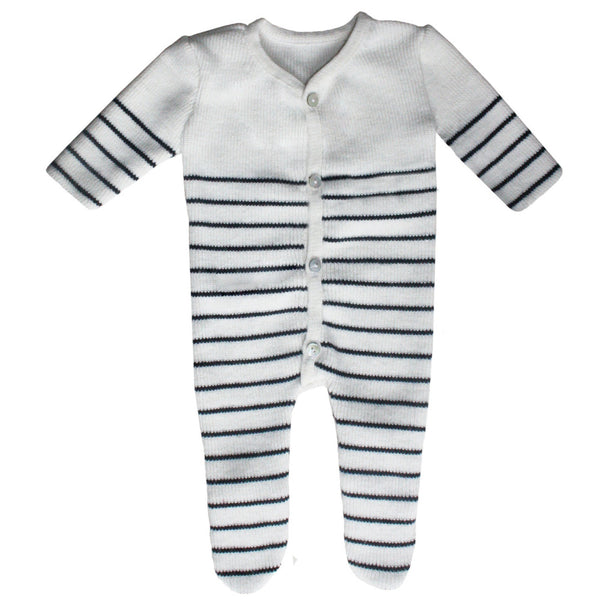 Knitted Baby Playsuit - Navy Blue and cream striped