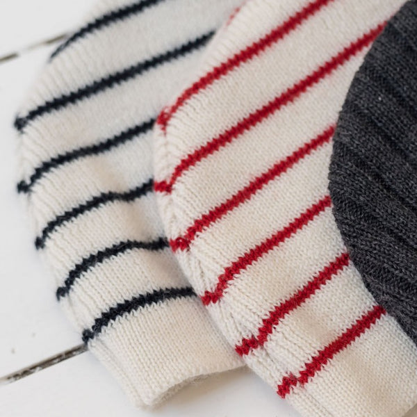 Knitted Bonnet - Cream and red striped