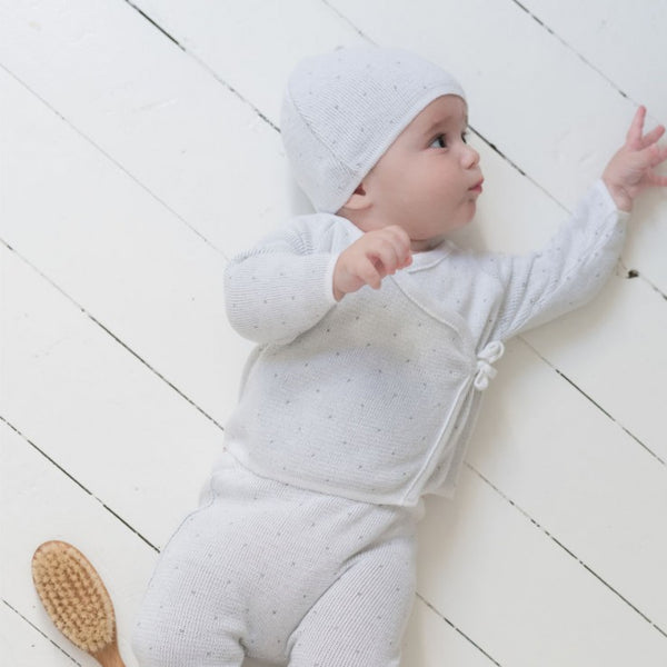 Knitted Outfit - White and Grey Layette