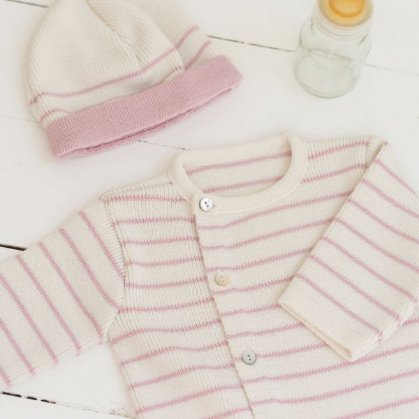 Knitted baby Cardigan - Cream and Pink Striped