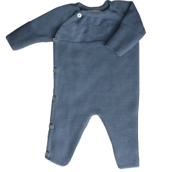 Knitted Baby Playsuit - Blue Denim