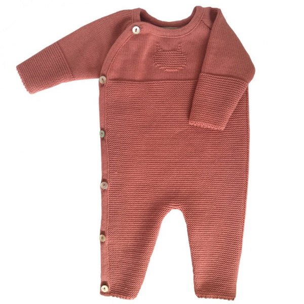 Knitted Baby Playsuit - Coral