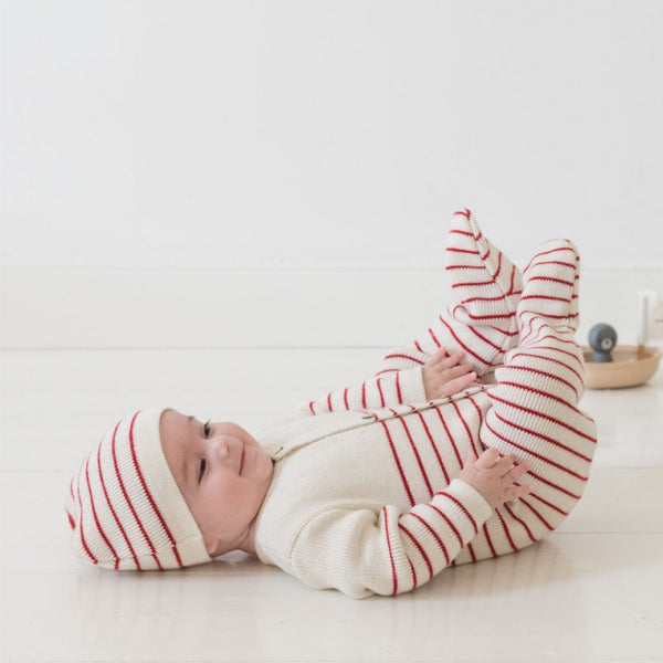 Knitted Baby Playsuit - Red and cream striped