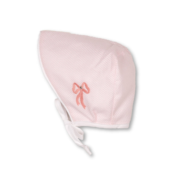 AVA Pink Bonnet - Embroidered bow with Crystal stone