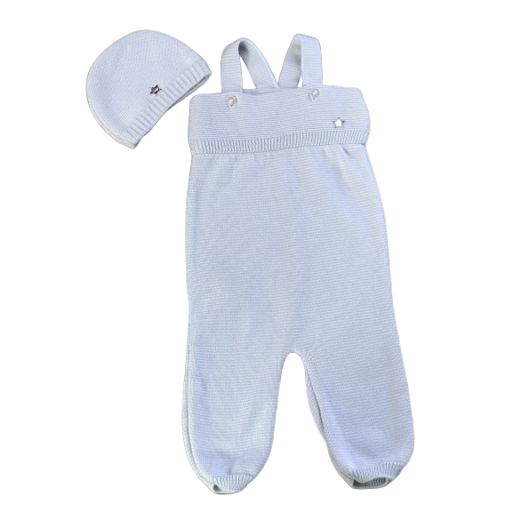 Knitted Baby Overall & Bonnet - White and Light grey striped