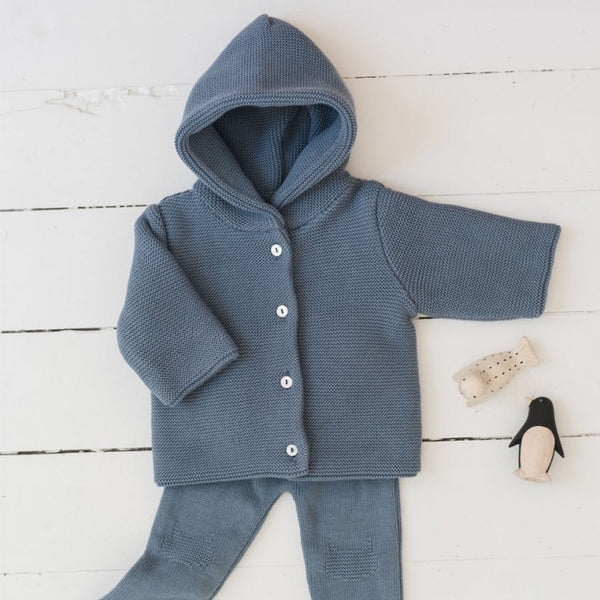 Knitted Baby Cardigan - Blue Denim