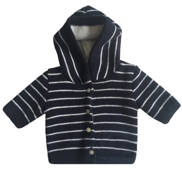Knitted Baby Jacket - Navy Blue and Cream striped