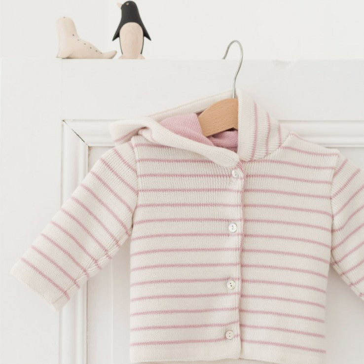 Knitted Baby Jacket - Cream and Pink striped