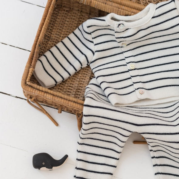 Knitted baby Cardigan - Cream and navy blue Striped