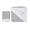 Stars Grey Hooded Towel and Washcloth