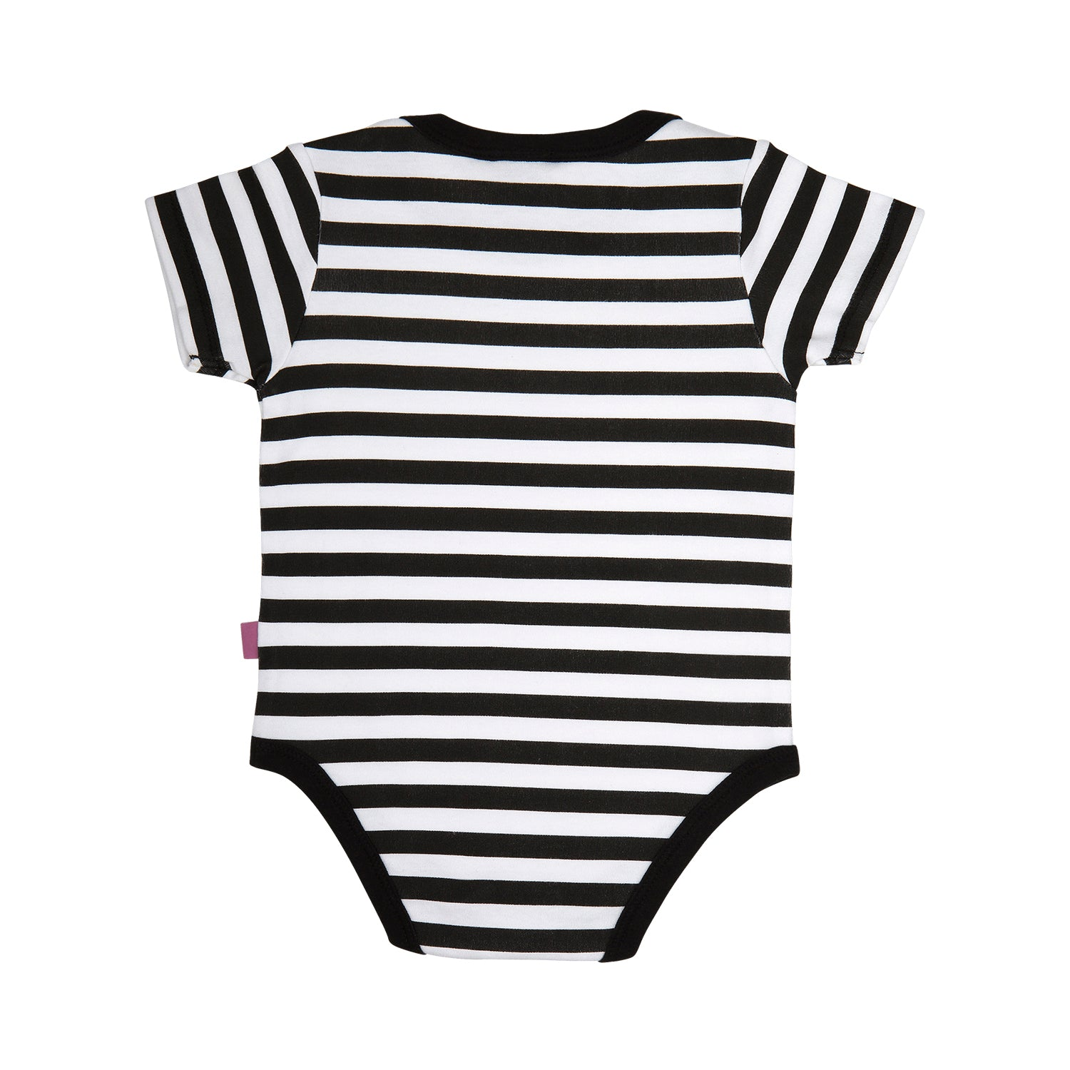 back side of a 100% cotton black and white stripe short sleeve bodysuit with black trim around the neck and leg openings