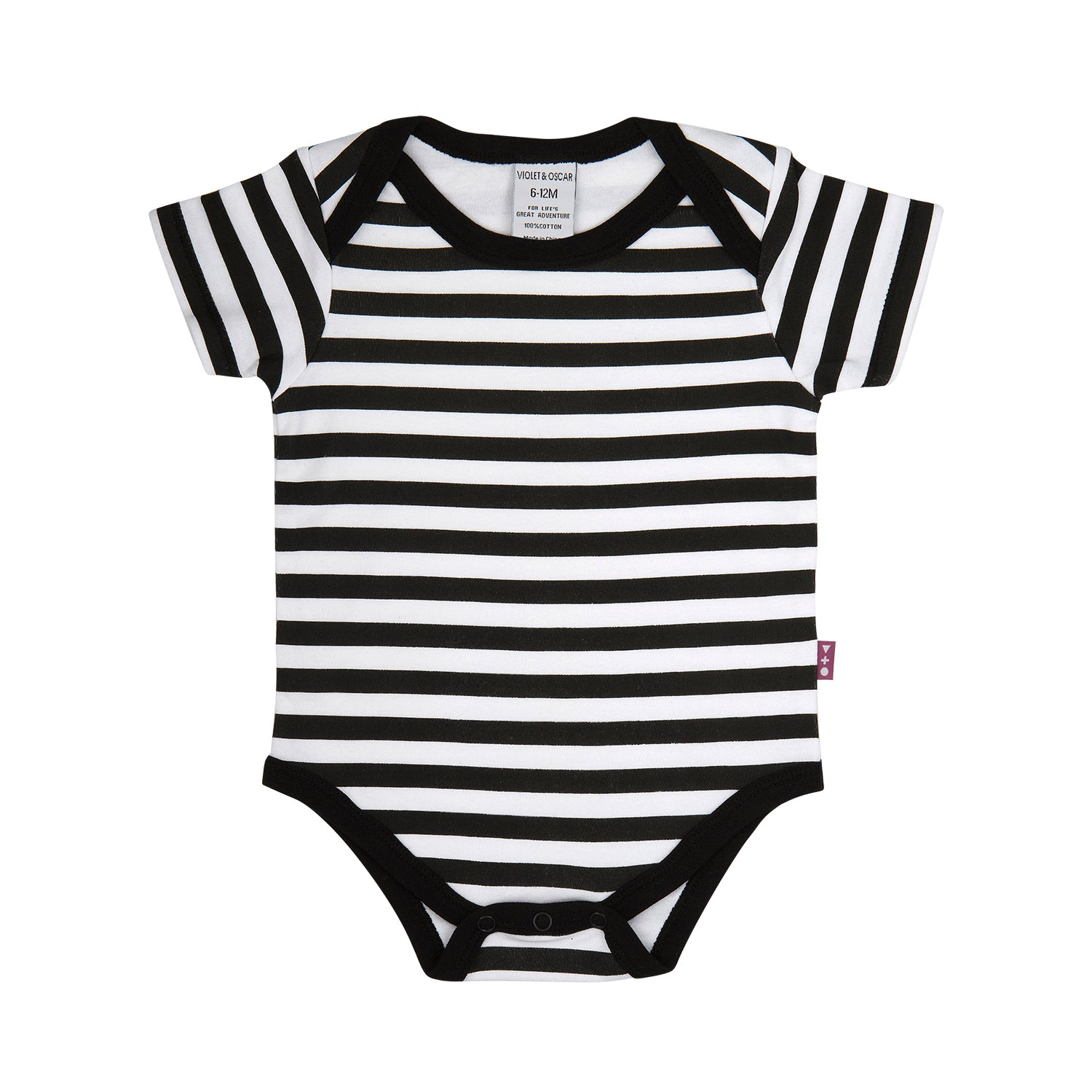 front side of a 100% cotton black and white stripe short sleeve bodysuit with black trim around the neck and leg openings