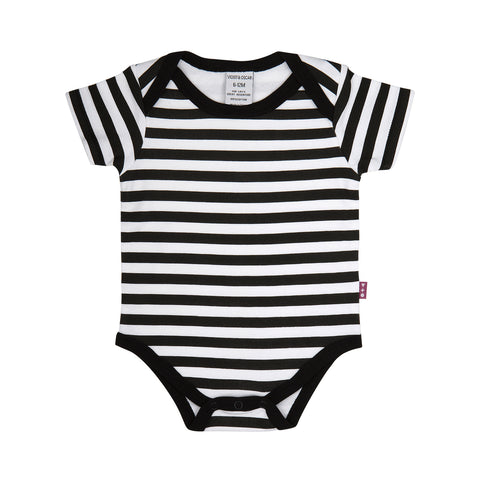Sleepsuit Footed and Mitted - Classic Black and White Star