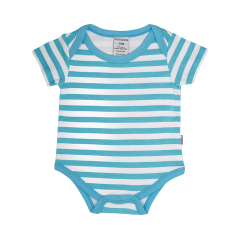 front side of a 100% cotton short sleeve blue and white stripe bodysuit for baby or toddler. Blue trim around the neck and leg openings.