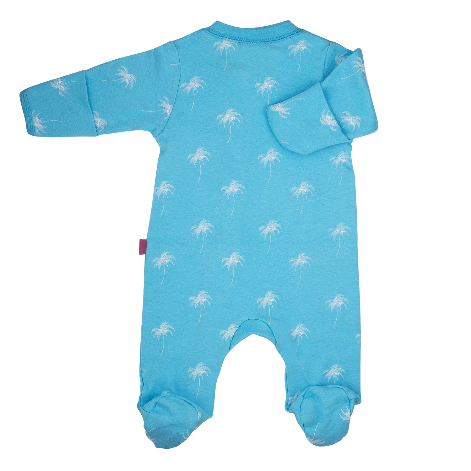 back side of a 100% cotton blue footed and mitted sleepsuit with white palm print
