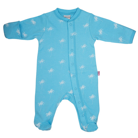 front side of a 100% cotton blue footed and mitted sleepsuit with white palm print