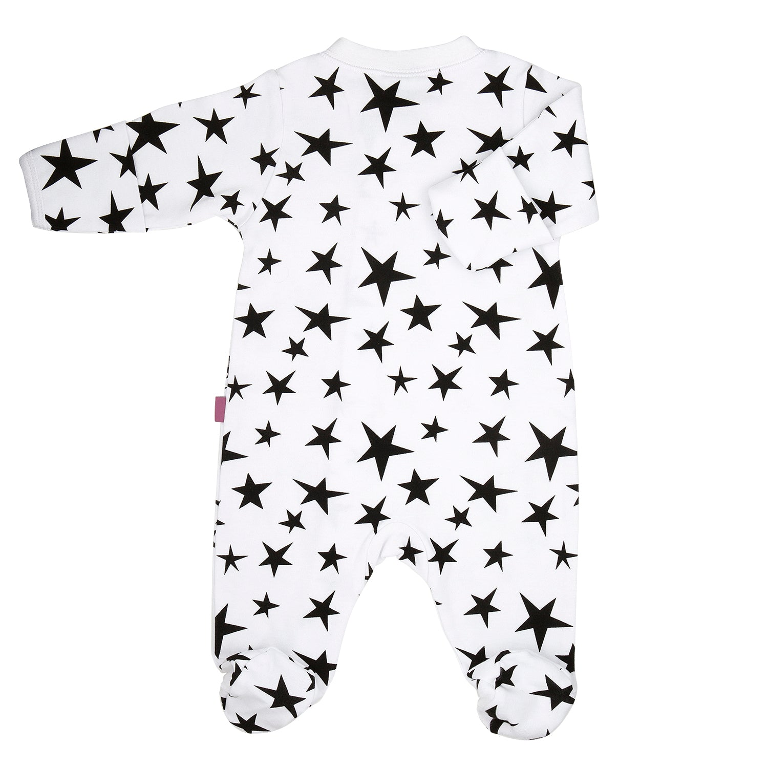 back side of a 100% cotton footed and fitted sleepsuit for baby's with a bright black star print