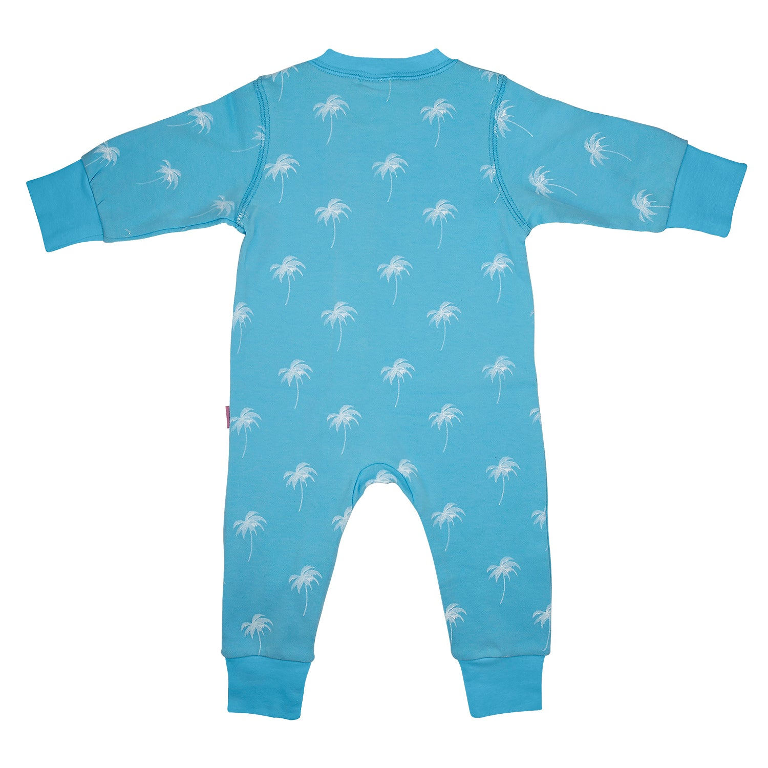 back side of 100% cotton blue sleepsuit for baby's with a white palm print