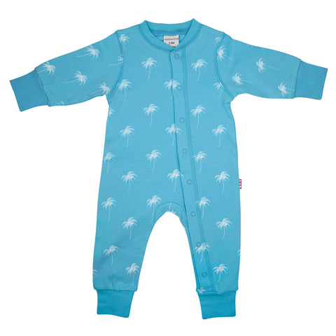 front side of 100% cotton blue sleepsuit for baby's with a white palm print