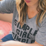Simple Girl Simple Needs (Adult) Grey V-Neck Tri-Blend