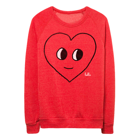 Happy Heart (Adult) Eco Red Champ Pullover
