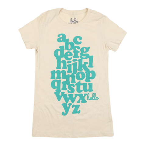 Alphabet (Adult Women's) Cream Favorite Crew Tee