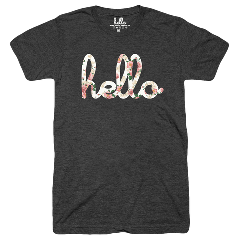 Hello Floral (Adult & Kids) Black Tri-Blend