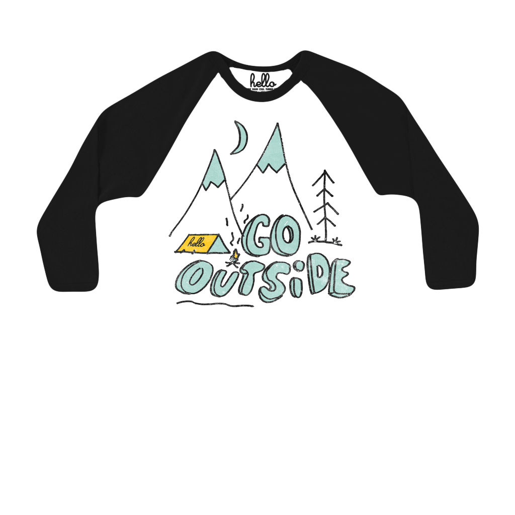 Go Outside (Adult & Kids) White & Black 3/4 Sleeve Raglan