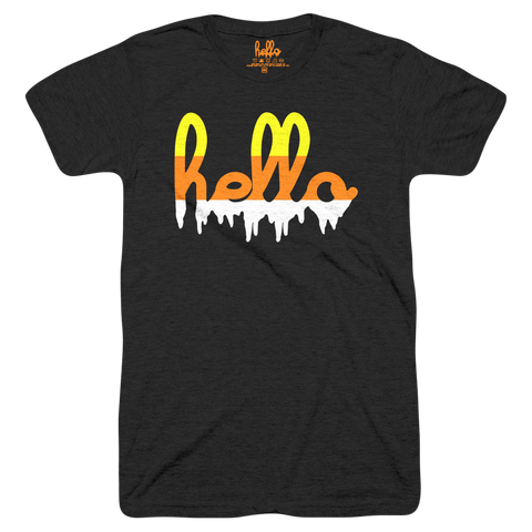Hello Candy Corn Drip (Adult & Kids) Black Tri-Blend