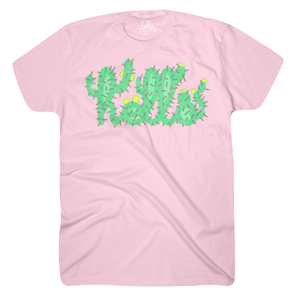 Hello Cactus (Adult & Kids) Pink T-Shirt