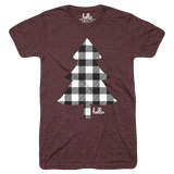 Buffalo Plaid Tree (Kids) Heather Maroon T-Shirt