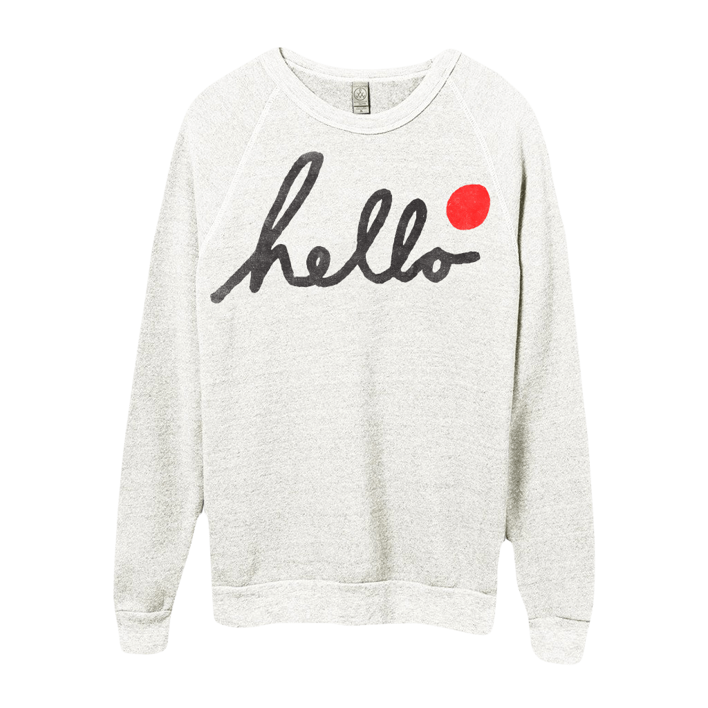 Hello Script (Adult) Eco Oatmeal Champ Pullover