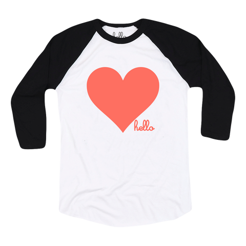Living Coral Heart (Adult & Kids) White & Black 3/4 Sleeve Raglan