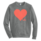 Living Coral Heart (Adult) Eco Grey Champ Pullover