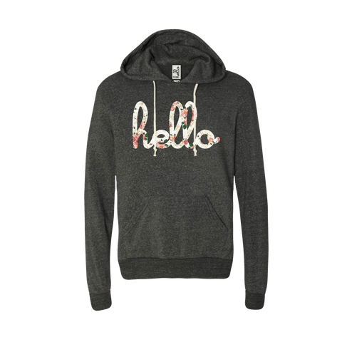 Hello Floral (Adult) Eco Black Pullover Hoodie