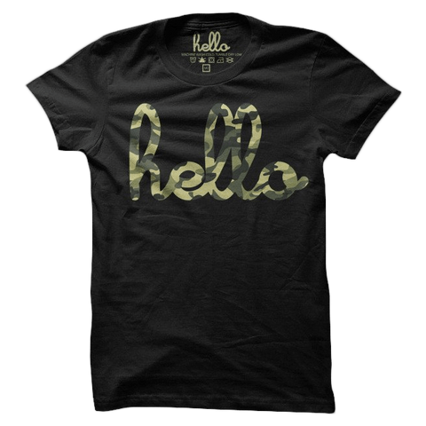 Hello Camo (Adult & Kids) Black Poly-Cotton T-Shirt