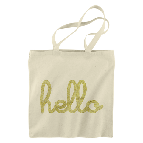 Hello Gold Glitter Tote Bag