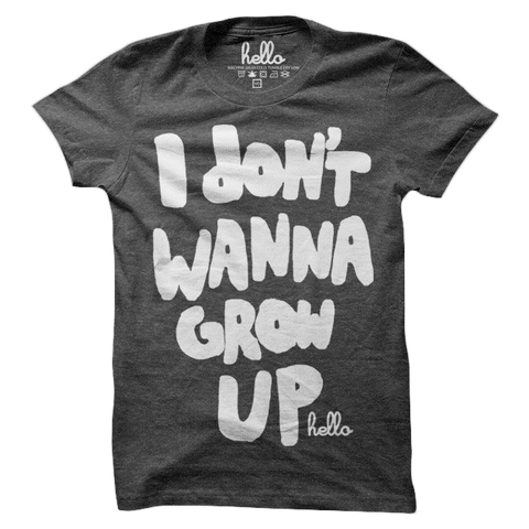 I Don't Wanna Grow Up (Adult & Kids) Black Tri-Blend